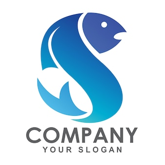 Буква s логотип рыбы