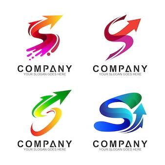 Стрелка + буква s бизнес логотип набор