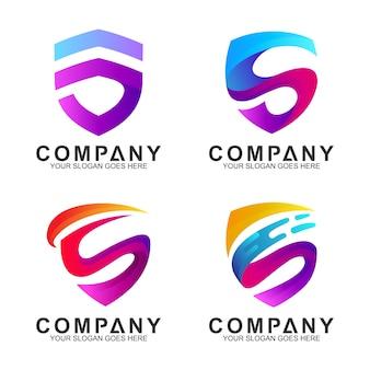 頭文字sのロゴデザインのインスピレーションと現代の盾