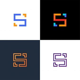 珍しい幾何学的な手紙s.建築ロゴ。孤立したモノグラム。
