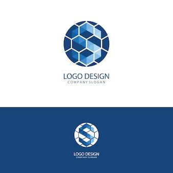 青と白の初期の手紙sスポーツロゴデザイン