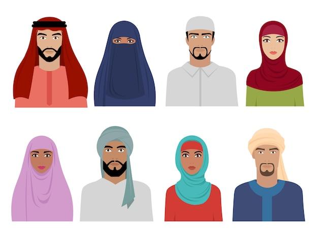アラブ国民服。男性と女性のスカーフヒジャーブとドレスsのイスラムイラントルコとアラビアのファッション