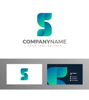 S буквенный логотип геометрический сложенный блокчин биткойн вектор с визитной карточкой