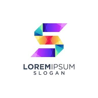 Красочный буква s дизайн логотипа