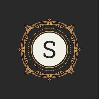 レストラン、ロイヤリティ、ブティック、カフェ、ホテル、ヘラルディック、ジュエリー、ファッションの「s」文字の高級ロゴ