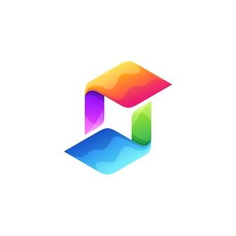 Буква s дизайн логотипа полноцветный