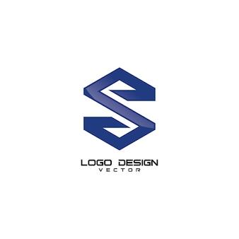 Sの手紙シンプルなロゴデザインベクトル