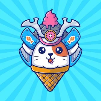 猫サムライマスコットアイコン。猫saとアイスクリーム、分離された動物アイコン