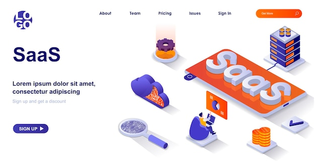 Saas 3d isometric landing page with people characters