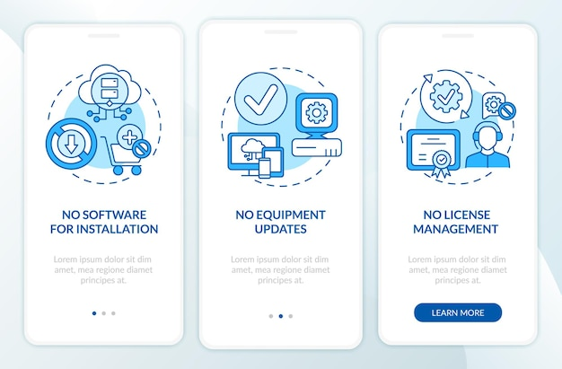 Saas advantages onboarding mobile app page screen with concepts. no software for setup, updates walkthrough steps graphic instructions. ui  template with rgb color illustrations