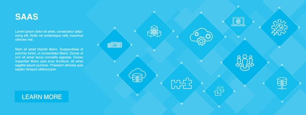 Saas 배너 10 아이콘 concept.cloud 스토리지, 구성, 소프트웨어, 데이터베이스 간단한 아이콘