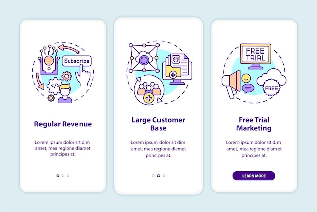 Saas benefits for developers onboarding mobile app page screen with concepts. regular revenue, customer base walkthrough 3 steps. ui  template with rgb color