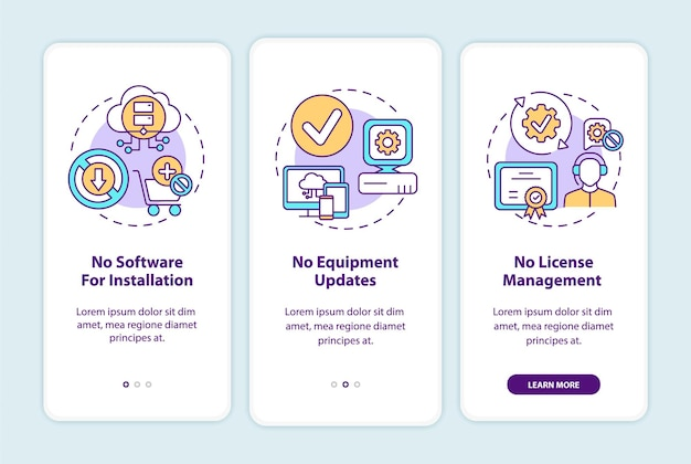 Saas benefits onboarding mobile app page screen with concepts. no software for installation, updates walkthrough 3 steps. ui  template with rgb color