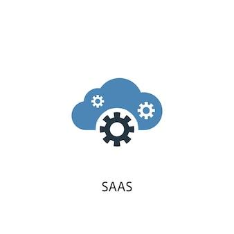 Saas 개념 2 컬러 아이콘입니다. 간단한 파란색 요소 그림입니다. saas 개념 기호 디자인입니다. 웹 및 모바일 ui/ux에 사용 가능