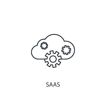 Saas 개념 라인 아이콘입니다. 간단한 요소 그림입니다. saas 개념 개요 기호 디자인입니다. 웹 및 모바일 ui/ux에 사용할 수 있습니다.