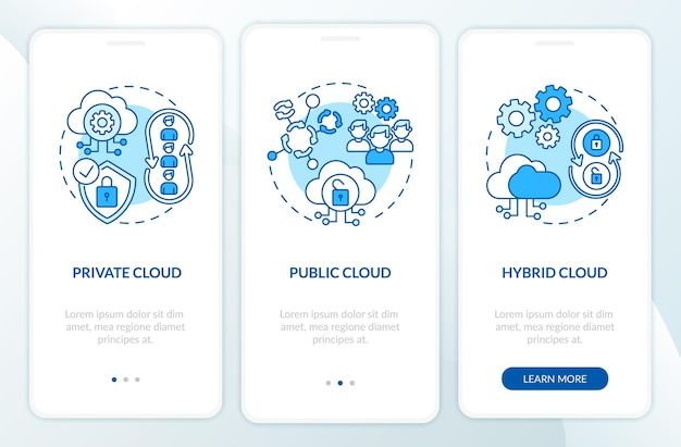 Saas deployment types onboarding mobile app page screen with concepts. private, public clouds walkthrough 3 steps graphic instructions. ui  template with rgb color illustrations
