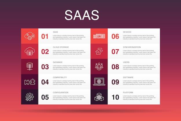 Saas 인포그래픽 10 옵션 템플릿입니다. 클라우드 스토리지, 구성, 소프트웨어, 데이터베이스 간단한 아이콘