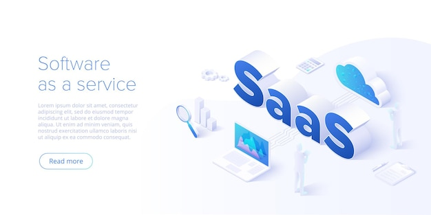 Saas isometric  illustration. software as service or on-demand concept background design. cloud computing segment metaphor. website banner layout template for webpage.