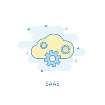 Saas 라인 개념입니다. 간단한 라인 아이콘, 컬러 그림입니다. saas 기호 평면 디자인입니다. ui/ux에 사용할 수 있습니다.