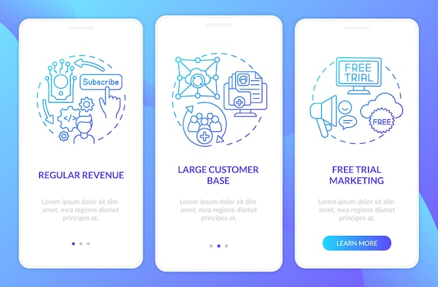 Saas pluses for developers onboarding mobile app page screen with concepts. constant revenue, client base walkthrough 3 steps. ui  template with rgb color