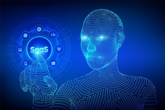 Saas。仮想画面上のサービス概念としてのソフトウェア。デジタルインターフェイスに触れるワイヤーフレームのサイボーグ手。