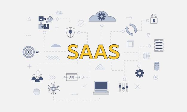 中央のベクトル図に大きな単語やテキストで設定されたアイコンとサービスの概念としてのsaasソフトウェア