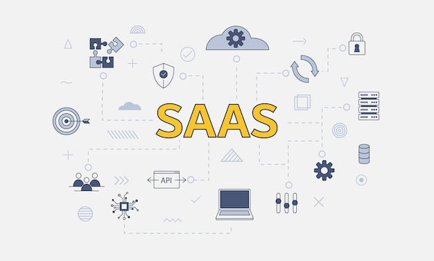 Saas software as a service concept with icon set with big word or text on center vector illustration