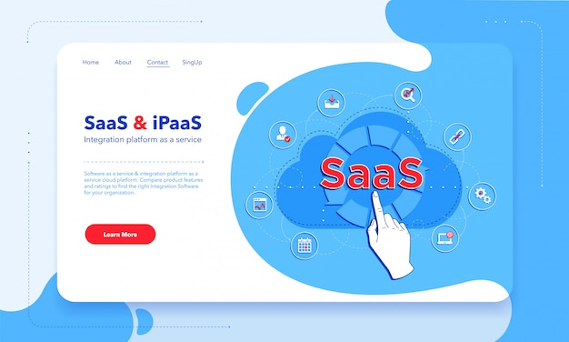 Saas - software as a service - and ipaas - integration platform as a service first screen template. client using saas.