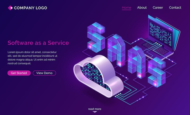 Saas, software as a service isometric landing page