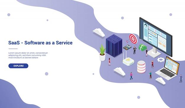Saas software как сервисная бизнес-концепция с большим словом с командой людей для шаблона сайта посадки домашней страницы сайта в изометрическом современном стиле