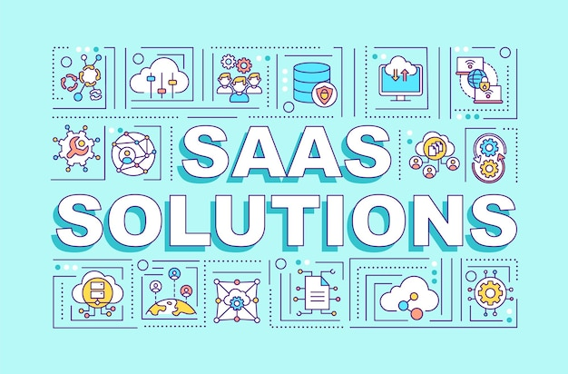 Saas solutions word concepts illustration