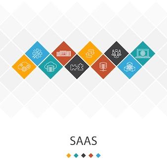 Saasトレンディなuiテンプレートのインフォグラフィックの概念。クラウドストレージ、構成、ソフトウェア、データベースアイコン
