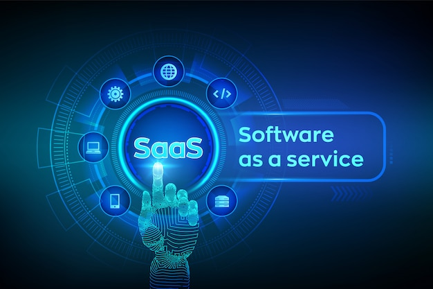 Saas。仮想画面上のサービス概念としてのソフトウェア。デジタルインターフェイスに触れるロボットの手。