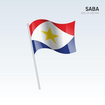 회색에 고립 된 사바 흔들며 깃발