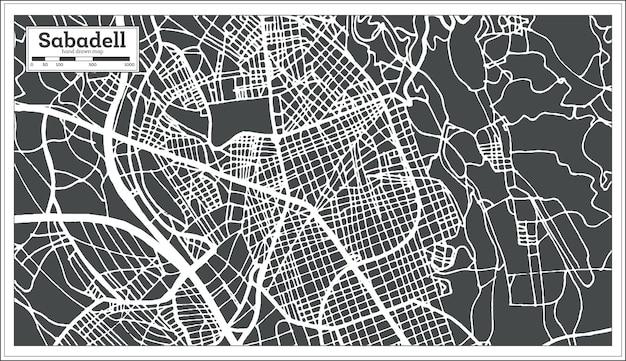 복고 스타일의 sabadel 스페인 도시 지도입니다. 개요 지도. 벡터 일러스트 레이 션.