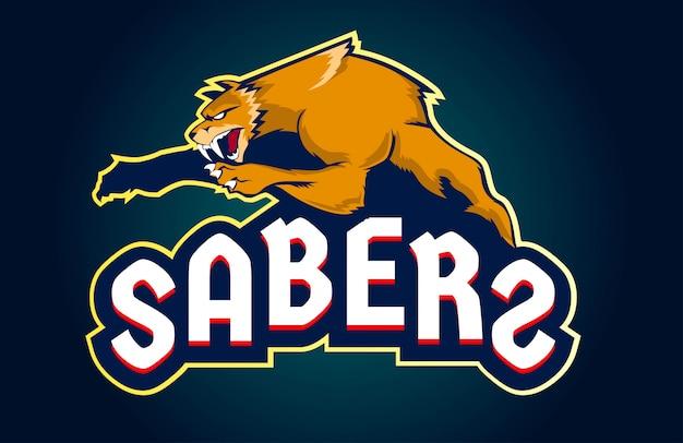 Sabertoothまたはsmilodonのマスコットesportのロゴ