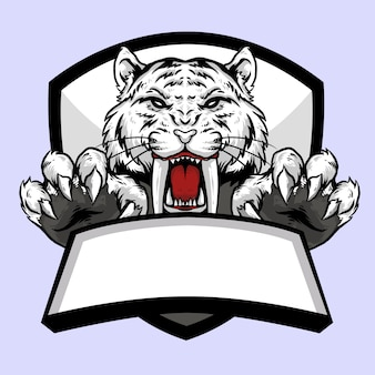 Sabertooth tiger white head with claw and banner emblem logo mascot design