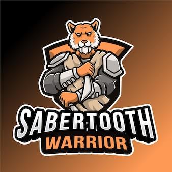 Логотип саблезубого воина, изолированные на оранжевом и черном