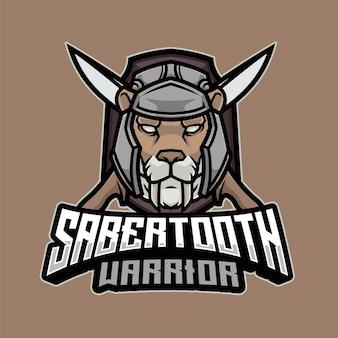 Шаблон логотипа саблезубый воин