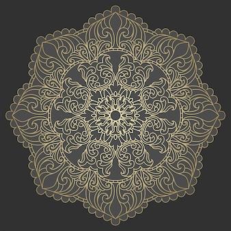 黄金のマンダラ。 sabstractマンダラ花、渦巻き、対称構成、ステンドグラス。