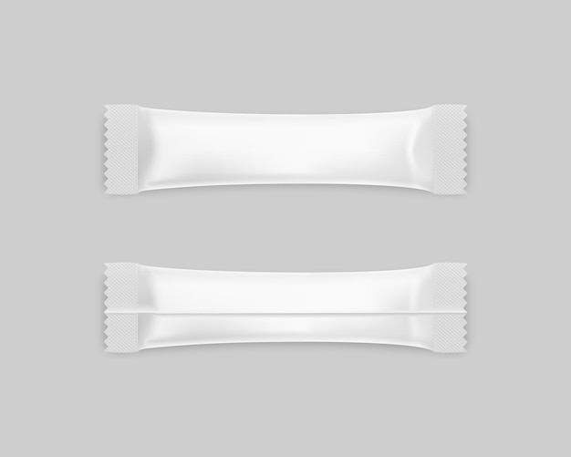 Sachet stick for sugar and spices front and back template mockup
