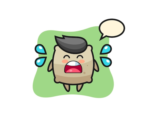 Sack cartoon illustration with crying gesture , cute style design for t shirt, sticker, logo element