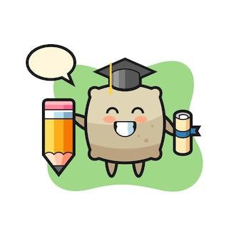 袋イラスト漫画は巨大な鉛筆、tシャツ、ステッカー、ロゴ要素のかわいいスタイルのデザインで卒業です