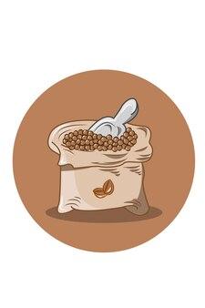 Мешок кофейных зерен векторные иллюстрации