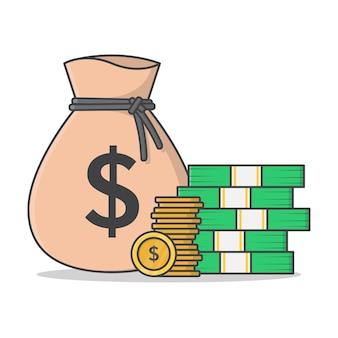 Мешок денег и большая куча наличных денег значок иллюстрации. денежный мешок плоский значок