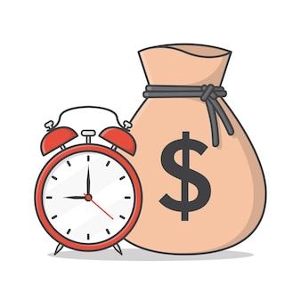 Мешок денег с иллюстрацией значка будильника. время - деньги
