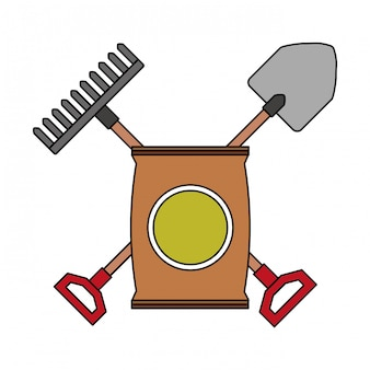 Sack soil rake and shovel gardening