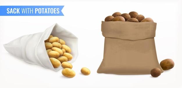Мешок с картошкой реалистичный набор с окорочками разного цвета и совпадения с текстом и мешками