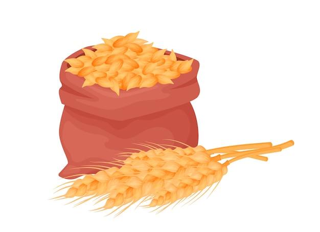 Мешок с пшеницей, зернами ячменя, семенами пшеницы в мешковине с колосками пшеницы, изолированными на белом фоне. элементы питания естественного сельского хозяйства в мультяшном стиле, вектор.