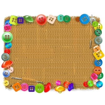 Sackcloth frame with buttons isolated on white background